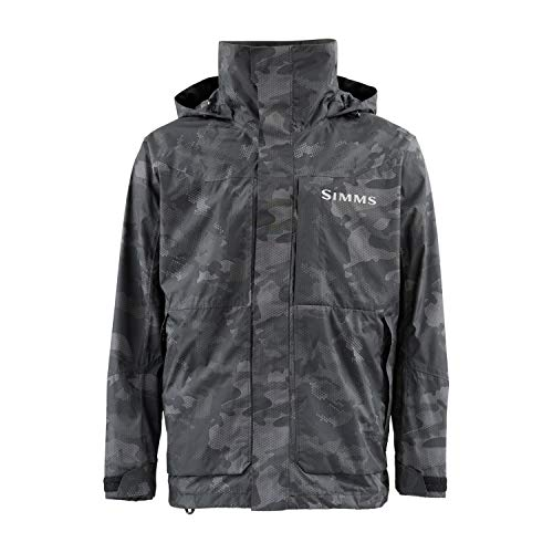 Simms Challenger Waterproof Fishing Rain Coat, Hex Flo Camo Carbon XL