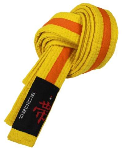 DEPICE Gürtel Karategürtel Judogürtel - Expositor de Cinturones de Artes Marciales, Color Amarillo/Naranja, Talla 200 cm