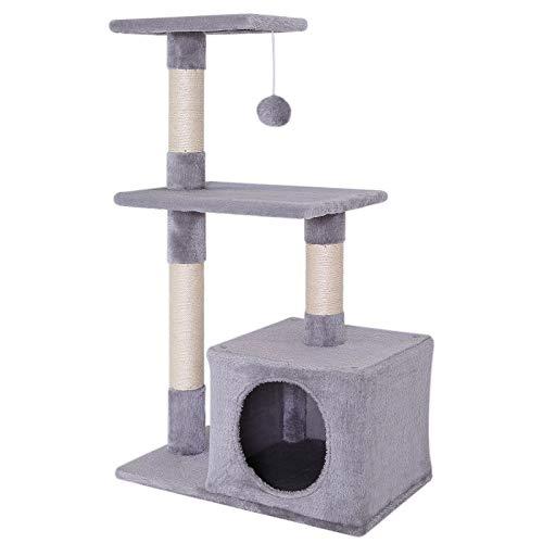 Albero tiragraffi gatti tronco per arrampicate gatti altezza 85 cm grigio chiaro