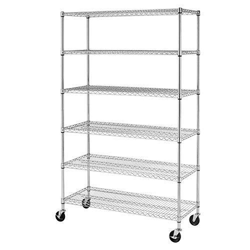 18x48x78 Storage Shelves Heavy Duty Metal Shelves Garage Organizer Wire Rack Shelving Storage Unit Shelf Adjustable Utility 6000 LBS Capacity,Chrome