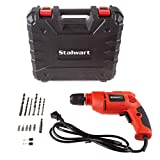 Stalwart Electric Power Drill with 6-Foot Cord  Variable Speed, Reversable Wired Screwdriver with Bubble Level, Carrying Case & Accessories