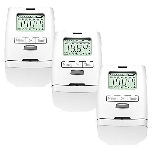 Set de 3 thermostat programmable pour chauffage hT 2000 fabriqué en allemagne-ensemble de 3 thermostats de radiateur version premium avec écrou métallique solide
