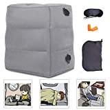 NIUMI Inflatable Travel Foot Rest Pillow   Kids Airplane Bed   2-Pack Available   Adjustable Height Leg Pillow   Make a Flat Bed for Baby Kids, Toddlers   Great for Airplane, Train, car (Grey-1 Pack)