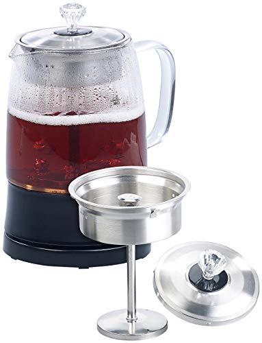 Rosenstein & Söhne Teekocher mit Sieb: 2in1-Glas-Teebereiter & Wasserkocher, Edelstahl-Sieb, 800 Watt, 1,2 l (Perkolator)