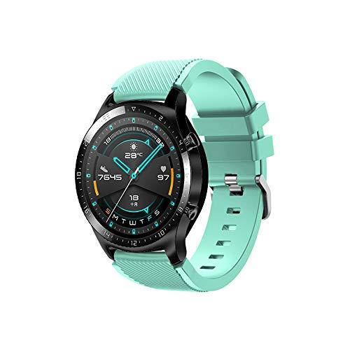 Pulseira de reposição para relógio de silicone Docooler de 22 mm, pulseira de reposição com fivela de superfície listrada compatível com Huawei Watch GT 2 46 mm/Honor MagicWatch 2 46 mm