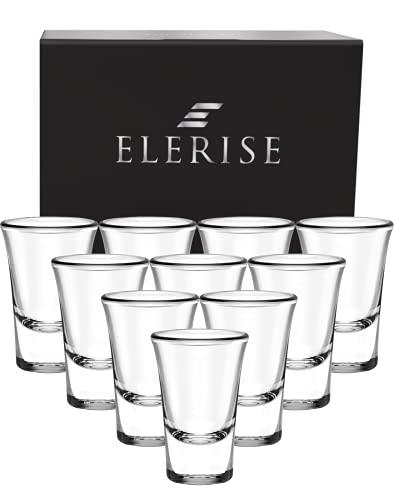Elerise - Set di 12 bicchierini da liquore, 3 cl, con base spessa