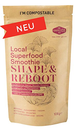 Shape & Reboot - Smoothie Pulver aus regionalen Heilpflanzen u.a. Aronja & Himbeeren, Hagebutten, Löwenzahnwurzel, Lupinen-Protein, OPC & weiteren Bio-Superfoods als Diät-Fitness-Shake Mix oder Bowl.