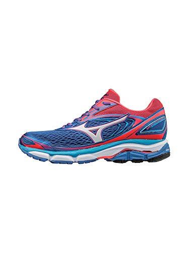 Mizuno Women's Wave Inspire 13 Running Shoe, Malibu Blue/Pink, 6.5 B US