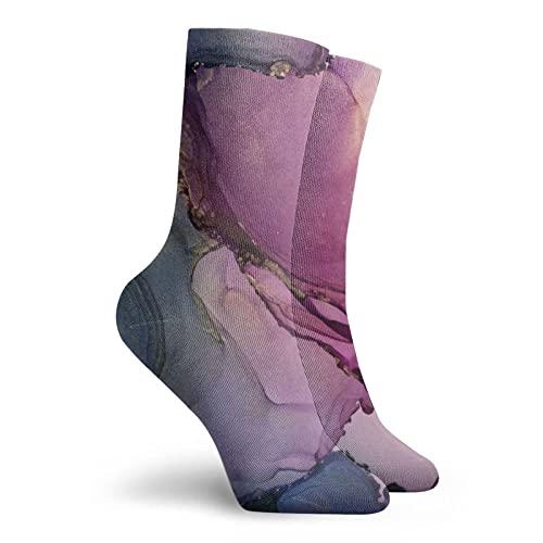 Calcetines Divertidos, Mármol Púrpura Y Azul, Calcetines De...