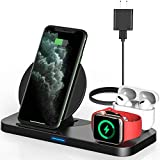 Powlaken 3 in 1 Wireless Charger, Wireless Charging Station Compatible for Apple iWatch Series SE 6...