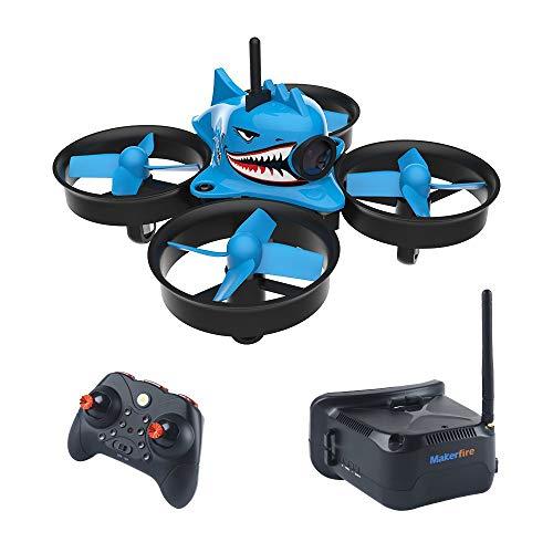 FancyWhoop Armatura Blue Shark Micro FPV Racing Drone con 5.8G 40CH 1000TVL Occhiali VR006 FPV Occhiali 800 * 600 Cuffie 3 Pollici RTF FPV Quadcopter
