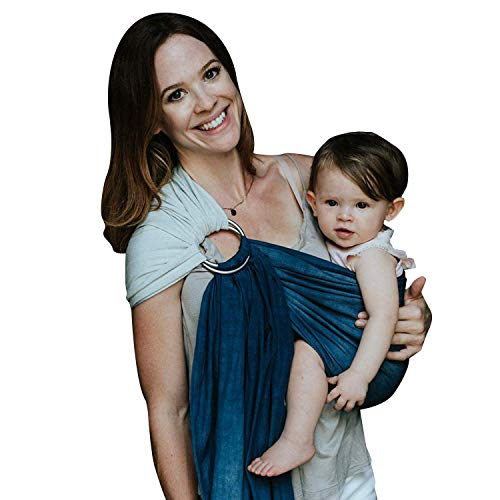 Nalakai Luxury Ring Sling Baby Carrier  Extra-Soft Bamboo and Linen Fabric - Lightweight wrap - for Newborns, Infants and Toddlers - Perfect Baby Shower Gift - Nursing Cover (Ocean Tide)