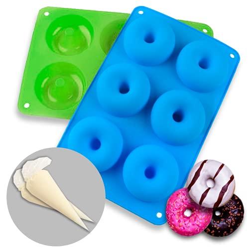 SendingClick – Moldes de Silicona para Donut 2 Unidades + Mangas pasteleras de Regalo 2 Unidades – Bandeja de 6 cavidades - antiadherentes para repostería – Color Verde y Azul.