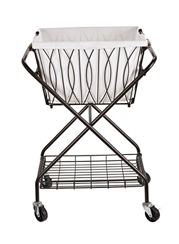 Artesa Verona Collapsible Metal Laundry Cart with Removable Basket & Canvas Bag, 20.5' L x 16.2' W x 13' H, Antique Black