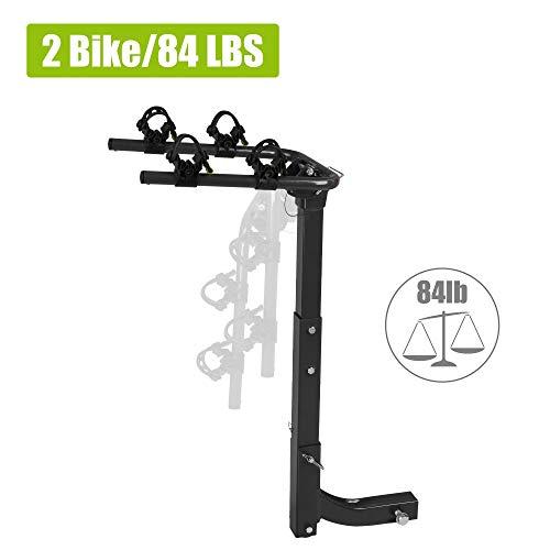 2 Bike Rack for Car 2' Hitch Receiver, Foldable Rack Easy-Assembly & Tilt-Away Design, Rubber Lock & Sleek Pad, Hanging Bicycle Carrier for Trucks, Cars, SUVs & Minivans
