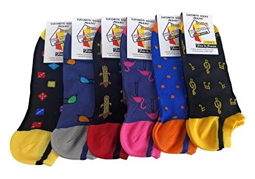 Lucchetti Socks Milano 6 PAIA fantasmini uomo cotone colorati fantasia filo di scozia pois disegni calzini corti alla caviglia made in Italy (Set Costa Azzurra)