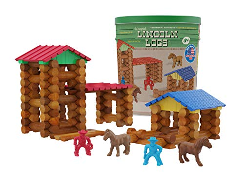 LINCOLN LOGS-Centennial Edition Tin Amazon Exclusive-150+ Pieces-Real Wood-Ages 3+-Best Retro Building Gift Set for Boys/Girls-Creative Construction Engineering-Top Blocks Kit-Preschool Education Toy