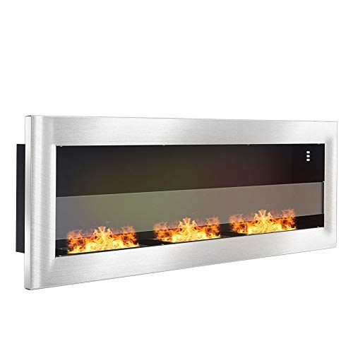 DKIEI Ethanol Fireplace Wall Mounted Bio Ethanol Fireplace Insert Fires 3 Burners No Chimney, No Electricity Required Stainless steel, 120x15x40cm