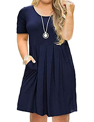 Features: A-line plus size dress features a scoop neckline, short sleeves dress with pockets, midi length, plus size women dresses Occasion: Enjoy the plus size swing dresses for spring or summer, great for work, vacation, casual, cocktail, party, be...