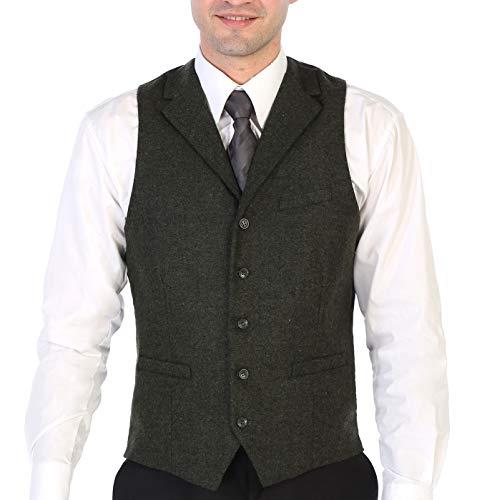 Gioberti Men's 5 Button Tailored Collar Slim Fit Formal Herringbone Tweed Suit Vest