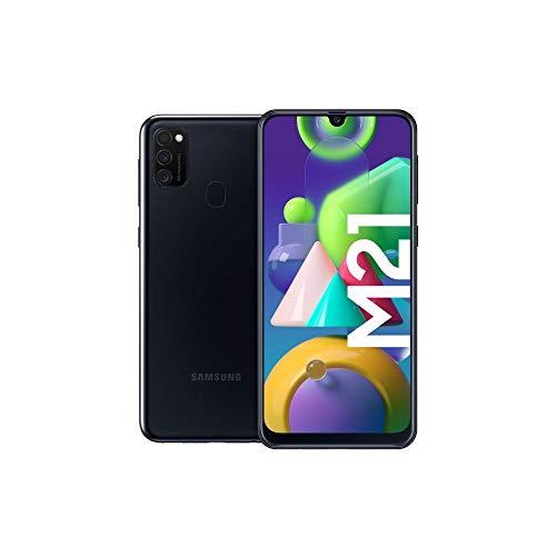 Samsung Galaxy M21 Android Smartphone ohne Vertrag, 3 Kameras, großer 6.000 mAh Akku, 6,4 Zoll Super AMOLED Display, 64 GB/4 GB RAM, Handy in schwarz, deutsche Version