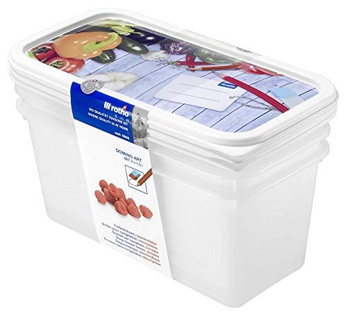 Rotho Domino Set di 3 vasetti per congelatore da 1.5 l con motivo scrivibile sul coperchio, Plastica PP senza BPA, Bianco, 3 x 23,3 x 11,8 x 11,2 cm