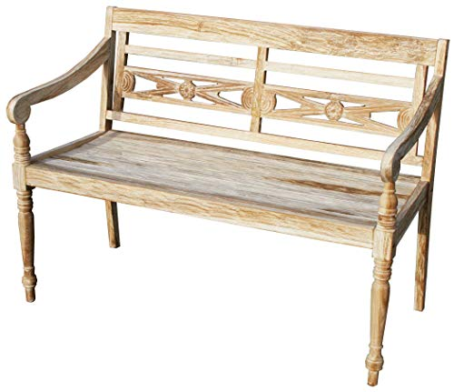 KMH®, Teak 2-sitzer Gartenbank Harry (115 cm) im Shabby Chic Stil - whitewashed (#102142)