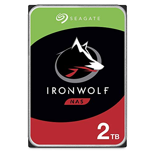 Seagate IronWolf 2 TB HDD, NAS interne Festplatte (8,9 cm (3,5 Zoll), 5900 U/Min, 64 MB Cache, SATA 6 GB/s, silber), Modellnr.: ST2000VN004