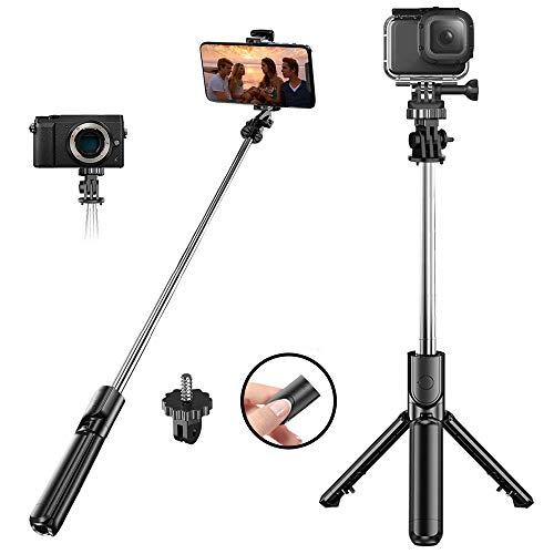 Suchewha Bastone Selfie, 4 in 1 Asta Estensibile Selfie Stick Bluetooth con Bluetooth Remote Shutter, Bastone Selfie Treppiede per iPhone Samsung Galaxy Huawei Gopro