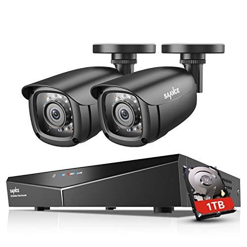 SANNCE Kit di Sorveglianza 1080P DVR TVI 4 Canali 2 Telecamera Sorveglianza Esterno 2MP Kit Videosorveglianza H.264 ONVIF Motion Detection P2P Cloud Visione Notturna 1TB HDD