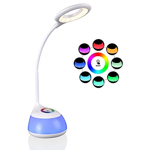 LED schreibtischlampe,hihigou Bunte Dimmbare Schreibtischlampen Tischlampe 3 Helligkeitsstufen Flexibles Arm Touchfeldbedienung menit USB-Anschluss schreibtischlampe kinder modern tischleuchte (weiß)
