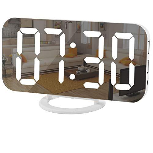 Digital Clock Large Display, LED Electric Alarm Clocks Mirror Surface for Makeup with Diming Mo…
