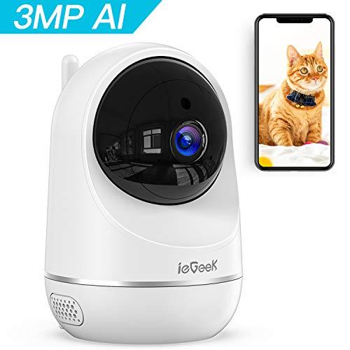 ieGeek 3MP Telecamera WiFi interno, Videocamera IP Sorveglianza wifi, Videocameras per Animali Domestici e per Bambini, AI Rilevamento Umanoide, Visione Notturna, Supporto Alexa