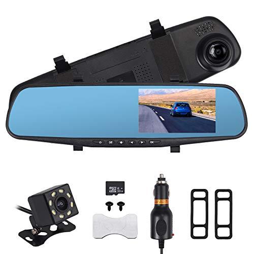 AUTOUTLET Telecamera per Auto,Videocamera specchietto retrovisore DVR Auto con doppia lente 1080P ad alta definizione da 4,3 pollici, Scheda di Memoria 32G
