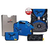 DerDieDas ErgoFlex Superflash - Juego de mochila y accesorios escolares (5 piezas), Blue Dragon (Negro) - 8405-126