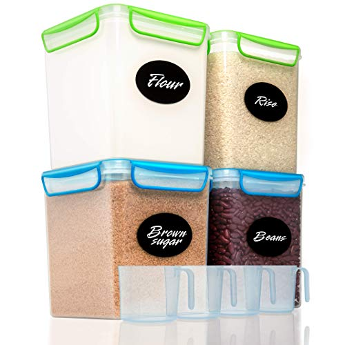 4 Large Airtight Food Storage Containers for Flour, Sugar 142 ounces - Kitchen Pantry Plastic Containers - Air Tight Canisters Set With Locking Lids - 8 Labels, Marker and 4 Measuring Cups by GoodCups