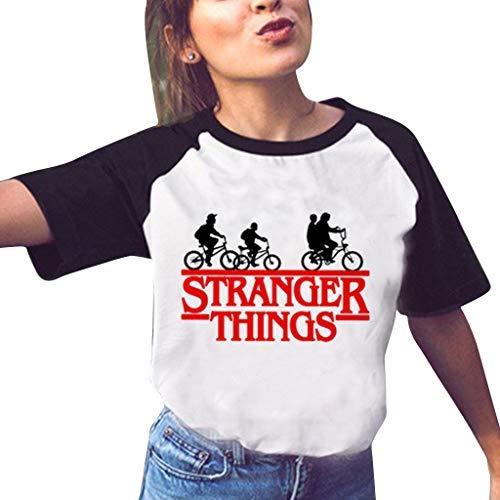 Stranger Things Maglietta per Donna, Maniche Corte Maglia con Stampa 3D Estate Tee T-Shirt Casuale Elegante Camicia Tops Blusa Camicetta Maglietta da Ragazza (3,S)