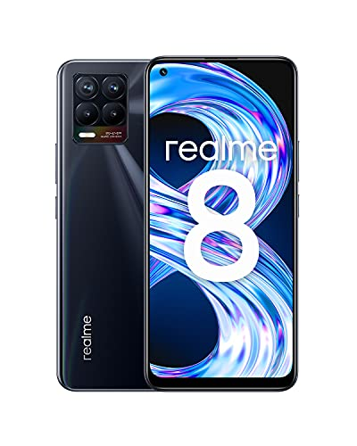 "realme 8 Smartphone Libre, Cámara cuádruple con IA de 64MP, Pantalla completa AMOLED superior de 6,4"", Carga Dart de 30W, Batería masiva de 5000 mAh, Dual Sim, NFC, 4+64GB, Punk Black"