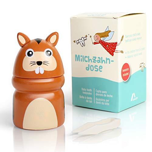 Amazy Milchzahndose inkl. Pinzette und Zahnfee Brief – Niedliche Zahndose aus Holz zur Aufbewahrung der Milchzähne und Zahnfeebrief für den ersten Wackelzahn (Klein | Tier)