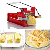 Potato Cutter, French Fry Potato Cutter with Extended Handle and 2 Interchangeable ⅜' and ½' Cutting Blades for Potatoes, Onions, Carrots, Cucumbers and more