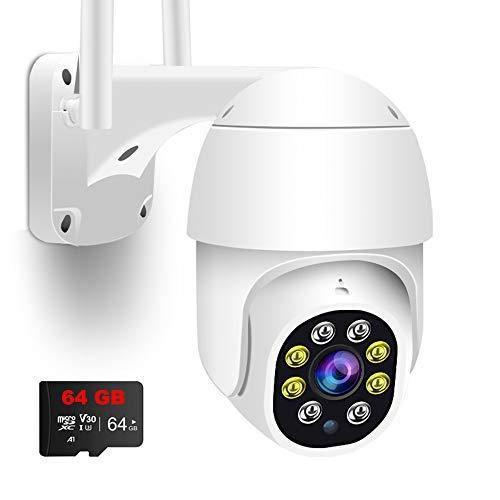 Caméra Surveillance WiFi Exterieure IP Caméra de Sécurité 1080P Pan/Tilt Vue à 360° Suivi de Mouvement Intelligent Vision, Audio Bidirectionnel, Etanche IP66 Vision Nocturne en Couleur, avec carte 64G