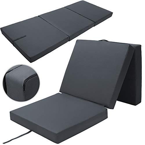 Detex Matelas Pliant de Voyage Confort Matelas d'appoint Pliable Lit futon Pouf Pliant avec Housse 190x70x10 cm Anthracite