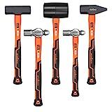 HORUSDY 5-Piece Hammer Set, 16oz Ball Pain Hammer | 32oz Ball Pain Hammer | 32oz Rubber Mallet | 3lb Sledge Hammer | 3lbCross Pain Hammer