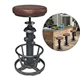 Topower American Antique Industrial Round Bottom Adjustable Height Cafe Coffee Retro Vintage Stylish Water Pipe Design Pub Kitchen Bar Stool (Silver, PU Leather Top)