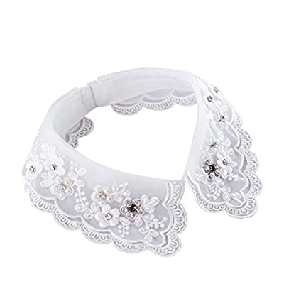 White lace flower embroidered decorative choker collar with pearl crystal beaded, translucent double-layer detachable collar for girls,women,lady Charming decorative collar under sweaters, dresses, uniforms, jackets and other casual clothes, make you...