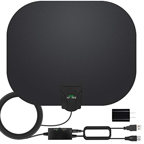 TV Antenna, Amplified HD Indoor Digital HDTV Antenna 200 Miles Range with Amplifier Signals Booster Support 4K 1080p HDTV and All Old Tv for Local Channels - 17ft Coax Cable