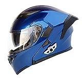 LuanYe Bluetooth Integrated Motorcycle Helmets Full Face Flip up Dual Visors Modular Motorcycle Street Bike Helmet (Blue, L-23.23'-23.62')