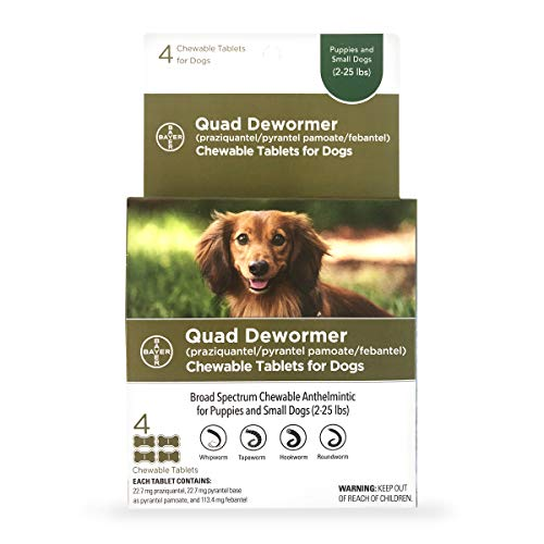 Bayer Chewable Quad Dewormer for Small Dogs, 2-25...