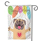 YISHOW Pug Happy Birthday Puppy Dog Garden Flag Double Sided Vertical Pug Happy Birthday Puppy Dog House Flags Yard Signs Outdoor Decor 12.5' X 18'