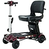 iLiving i3 Foldable Electric Scooter Mobility for Seniors and Adults Alternative to Wheelchair Portable and Travel Friendly, with 18-Inch Deluxe Seat (Burgundy)